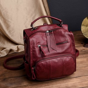 Wholesale designer backpack women Backpack Female Casual Multifunction School Bag Designer Leather Shoulder Bag Women Travel Backpack Mochila