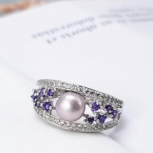 бесплатный пасьянс оптовых-jewelry S925 sterling silver rings pearl solitaire purple zirocon rings for women hot fashion free of shipping