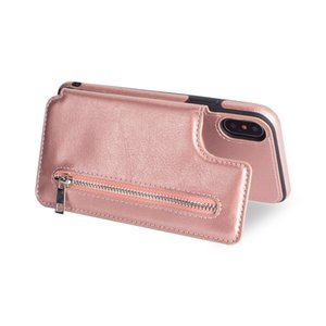 Wholesale Hot sale good quality for iPhoneXS MAX zipper multi function xr phone case Samsung S9 mobile phone case price