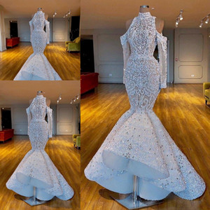 Wholesale 2020 Luxurious Mermaid African Dubai WeddingDresses High Neck Beaded Crystals Bridal Dresses Long Sleeves Wedding Gowns