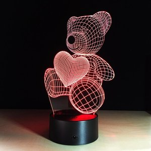 3d Love Teddy Bear 3d Lamp Optical Illusion Kids Night Light AnimalsTouch Table Desk Lamps with Remote for Boys Girls Birthday Gift K2647