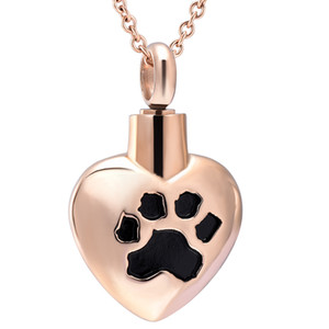 Wholesale pet urns for dogs resale online - ZZL116 Black Dog Paw Engraving Pink Gold Heart Cremation Necklace for Women Loss of Pet Memorial Urn Locket Funeral Casket