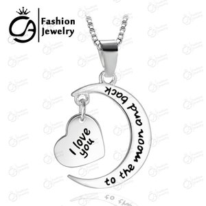 Wholesale I Love You To The Moon And Back Mom Pendant Necklace Mother Day Gift Heart necklace Fashion Jewelry LN902