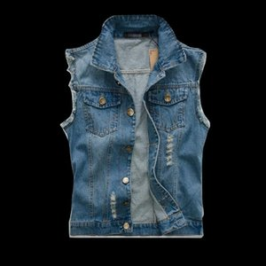 Wholesale VXO New Spring Autumn Vintage Classic Design Casual Denim Vest Men Blue 3 Colors Plus Asian size M-4XL 5XL 6XL