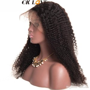 Wholesale OKLove Full Lace Human Hair Wigs Kinky Curly Natural Color Wigs Inch Pre plucked Remy Hair With Baby Hair