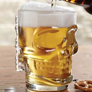 Creative Handmade Skull Shaped Beer Glass Cup 500ml Large Capacity Bar KTV Beer Glass With Handle Crystal Skull Glassware Cups DH1191