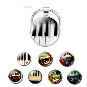 Music Keyring Jewelry Vintage Piano Photo Glass Cabochon Keychain Music Accessories Punk Handmade Gift For Pianist Piano Lovers
