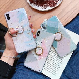 Wholesale white gold foil for sale - Group buy Gold Foil Bling Marble Bracket Phone Case for iPhone XS Max XR X Plus Soft Silicone Geometric patterns phone cases