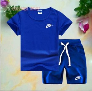 Wholesale 2020 Brand Logo Luxury Designer Kids Clothing Sets Summer Baby Clothes Print for Boys Outfits Toddler Fashion T shirt Shorts Children Suits