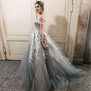 Grey and White Lace Wedding Dress Ball Gown Off Shoulder Cap Sleeve Corset Back Princess Vintage 2020 Castle Wedding Bridal Gowns