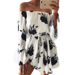 Women Summer Beach Floral Boho Dress Loose Printing Sexy Off the Shoulder Flare Sleeve Empire Flash Neck Mini Dress