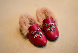 Wholesale Faux Fur Girls embroidery Child Girls Plush Velvet Loafer Shoes Baby Girls Princess Party Shoes kids Pu Shoes