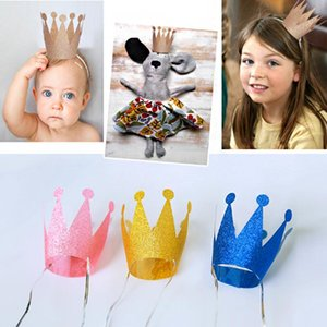 Wholesale 6pcs Birthday Princess Prince Crown Caps Birthday Party Decorations