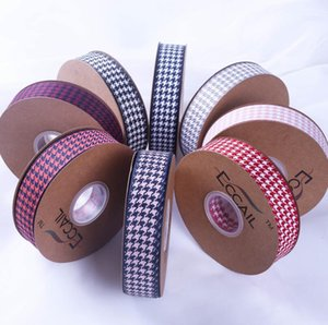 New 100yard Houndstooth Ribbon DIY Bow Hair Accessories Bouquet Wrap Ribbon Clothing Gift Box Decorative Plaid Print Ribbon Invitation Pocke on Sale