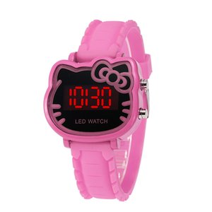 Wholesale Fashion cute bowknot cat kids girls silicone candy colors kitty watches wholesale children students sport digital led watches 9 colors C5832