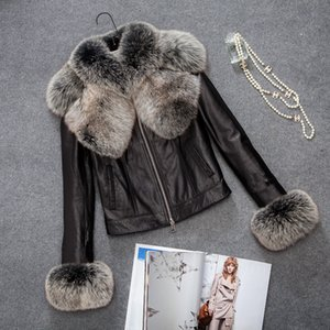Wholesale Women Big Fox Fur Faux Leather Jacket Motorcycle PU leather Outwear Short Fashion Artificial Jackets