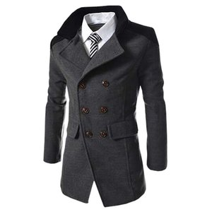 Hot Sale Autumn Long Wool Coat Men Fashion Turn-down Collar Wool Blend Double Breasted Pea Coat Jacket Men Brand Overcoats on Sale