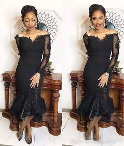2019 New Sexy Black Mermaid Evening Dresses V-Neck off shoulder Tea Length Long Sleeves Satin Tulle Appliques Beaded Prom Dress Party Gowns on Sale