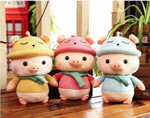 Wholesale 20170631 Pig Plush Toy Scarf Pig Stuffed Animal New Doll Grabbing Machine Hat Pig And Pillow For Men And Women s Birthday Gifts