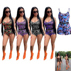 Wholesale Women Designer Jumpsuits Summer Fashion Brand Ethika Letter Print Camouflage Patchwork Suspender Pants Shorts Rompers Beach Clothing C71503