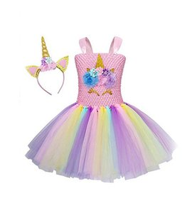 hot sale Girls unicorn birthday TUTU dress headband Flower Girls Dress Kids festival party Dresses baby girl summer dress unicorn costume