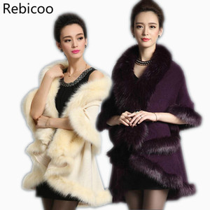 Wholesale New Fashion Women Faux Fur Coat Black White Long Wool Cashmere Cardigan Women Poncho Knitted Sweater Scarves Colors