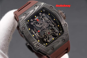 Wholesale stylish mechanical watch resale online - Fine men s watches black carbon fiber case high quality popular hot watch wine barrel case stylish automatic mechanical watch