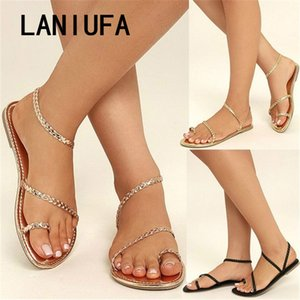 Wholesale Plus Size Thong Sandals Summer Women Flip Flops Weaving Casual Beach Flats With Shoes Rome Style Female sandals Low Heels
