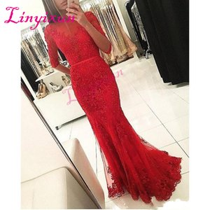 2018 red Cheap Mermaid Prom Dresses sheer crew ruched Half Sleeves Tulle Prom Gown Appliques belt Lace Beaded Sweep Train Evening Gowns