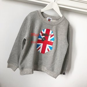 Wholesale high quality kids boy girls cotton gray sweatshirts children loose outfits coat 2-7T