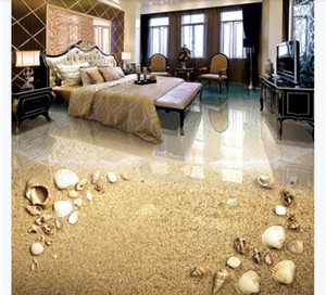 Wholesale shell floor for sale - Group buy Customized D Self adhesive floor photo mural wallpaper Beautiful beach shell bathroom living room D floor painting decoration