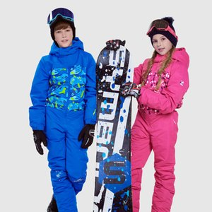 Wholesale Dollplus Kids Boys Girl Ski Suit Waterproof Windproof Ski Snowboard Winter Warm Thermal Hooded One piece Children Clothing Sets