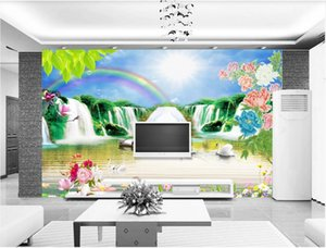 Wholesale wallpaper rainbow for sale - Group buy WDBH d wallpaper custom photo Outdoor peony waterfall rainbow landscape background wall wallpaper for walls d