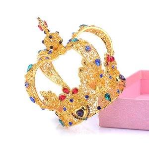 jewelry exaggerated crown retro circular crown ornament, high-end Baroque jewelry tiara wedding bridal hair accessories veils designer on Sale
