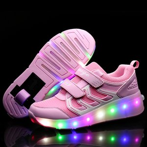 Wholesale Pink Gold Glowing Kids Roller Skate Children Led Light Up Shoes Girls Boys Sneakers With Wheels Heelies MX190726 MX190727