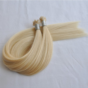 Wholesale draw hair resale online - Double drawn blonde Color Fan tip Hair Extensions Remy Hair Straight wave g per piece g per Free DHL