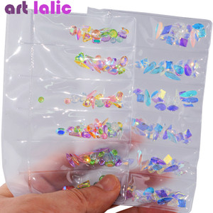 AB Flatback Glass Nail Rhinestones Diamond Teardrop Horse Eye Crystals Stones Shiny Gems Manicure Nails Art Decorations