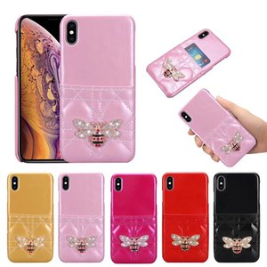 Wholesale Glossy Holster Card Slot Lattice Leather Back Case D Diamond Bee Paris Phone Cover for iPhone XS Max XR s Plus
