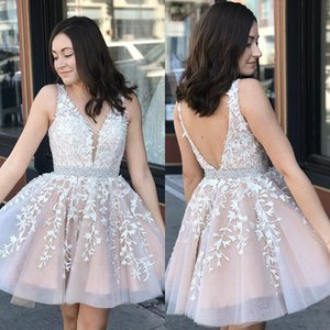 Short Homecoming Dresses 2020 New A Line V Neck Applique Lace Crystal Beaded Sash Cocktail Dress Mini Prom Gowns BM0987