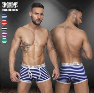 Wholesale 2019 Men Underpants Thin Sexy Underwear Mens Boxers Casual Shorts Pure color men s stripe briefs PINK HERO
