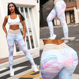 Wholesale Women Cloud Printing Leggings Sweat Absorption And Tight Resilient Fitness Pants Resilient Fashion Soft Breathable New Yoga Trousers fdD1