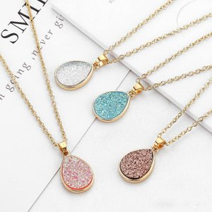 Wholesale Water drop Resin Druzy Drusy Necklace Druse Stone Pendant Gold Plated Dangle Charms Collar Jewelry Christmas Gift