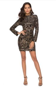 Women's Sequined Skinny Dress Sexy Bag Hip Skirt Night Club Long Sleeve Dress Free Shipping