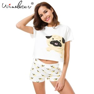 Cute Dog Pajama Set Women Pug Print 2 Pieces Set Crop Top + Shorts Elastic Waist Pajamas Loose Home Wear Lounge pyjamas S6801 Y19042803