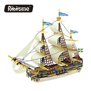 Wholesale Robotime D wooden Puzzle DIY model Building kits Educational diecasts toy vehicles for Chidren boat ship gifts