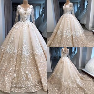 b3b940558 2019 Vintage Champagne A Line Wedding Dresses 3D Appliques Lace Jewel Neck  See Sheer Long Sleeves Plus Size Bridal Gowns Sweep Train BC2033