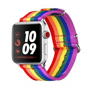 Nylon Replacement Wristband Compatible iwatch Rainbow Apple Watch Bands LGBT Comfortable Durable Sport Straps Accessories with Metal Buckle