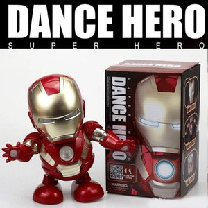 Wholesale Dance Iron Man Action Figure Toy robot LED Flashlight with Sound Avengers Iron Man Hero Electronic Toy kids toys