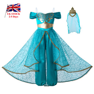 Wholesale Pettigirl New Girl Princess Costume Cosplay Party Kids Clothes Girls Jumpsuit Costumes Golden Lace Crown G DMGD112 A265