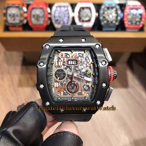 Luxry Cheap 11-03 Big Date 43mm Flyback Chrono Black Skeleton Dial Miyota Automatic Mens Watch Black Steel Case Black Rubber Strap Watches on Sale
